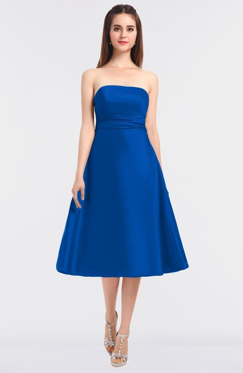 ColsBM Stacy Electric Blue Elegant Ball Gown Bateau Sleeveless Zip up Ruching Bridesmaid Dresses
