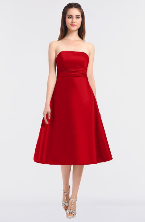 ColsBM Stacy Fiery Red Elegant Ball Gown Bateau Sleeveless Zip up Ruching Bridesmaid Dresses
