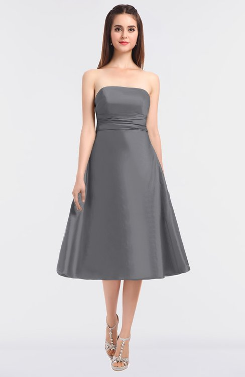 ColsBM Stacy Frost Grey Elegant Ball Gown Bateau Sleeveless Zip up Ruching Bridesmaid Dresses