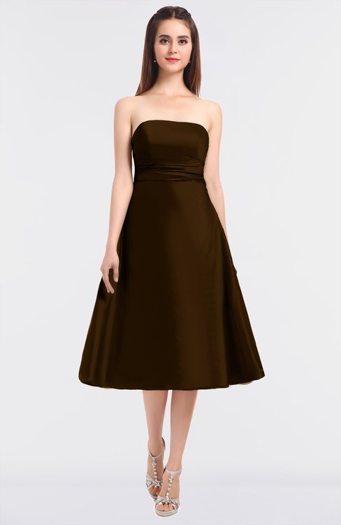 ColsBM Stacy Fudge Brown Elegant Ball Gown Bateau Sleeveless Zip up Ruching Bridesmaid Dresses
