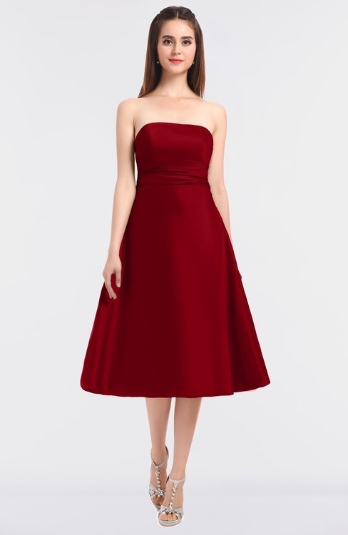 ColsBM Stacy Haute Red Elegant Ball Gown Bateau Sleeveless Zip up Ruching Bridesmaid Dresses