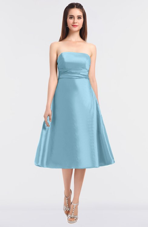 ColsBM Stacy Ice Blue Elegant Ball Gown Bateau Sleeveless Zip up Ruching Bridesmaid Dresses