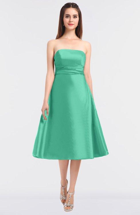 ColsBM Stacy Mint Green Elegant Ball Gown Bateau Sleeveless Zip up Ruching Bridesmaid Dresses