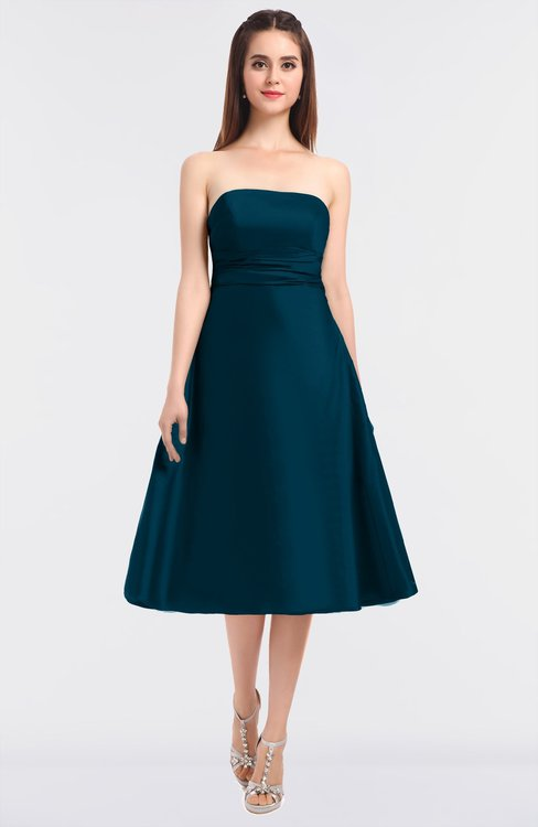 ColsBM Stacy Moroccan Blue Elegant Ball Gown Bateau Sleeveless Zip up Ruching Bridesmaid Dresses