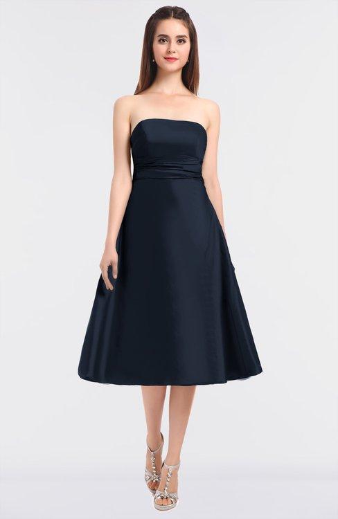 ColsBM Stacy Navy Blue Elegant Ball Gown Bateau Sleeveless Zip up Ruching Bridesmaid Dresses