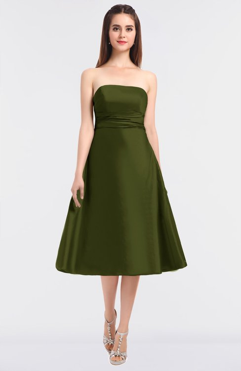 ColsBM Stacy Olive Green Elegant Ball Gown Bateau Sleeveless Zip up Ruching Bridesmaid Dresses