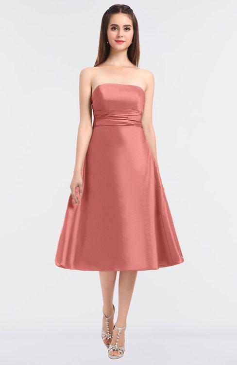 ColsBM Stacy Peach Blossom Elegant Ball Gown Bateau Sleeveless Zip up Ruching Bridesmaid Dresses