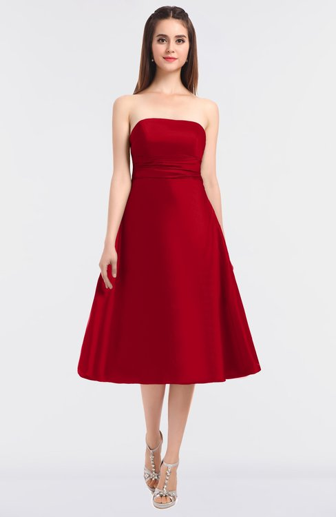 ColsBM Stacy Red Elegant Ball Gown Bateau Sleeveless Zip up Ruching Bridesmaid Dresses