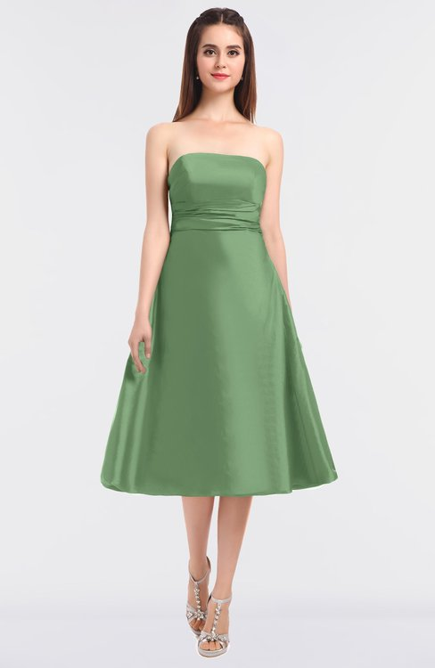 ColsBM Stacy Sage Green Elegant Ball Gown Bateau Sleeveless Zip up Ruching Bridesmaid Dresses