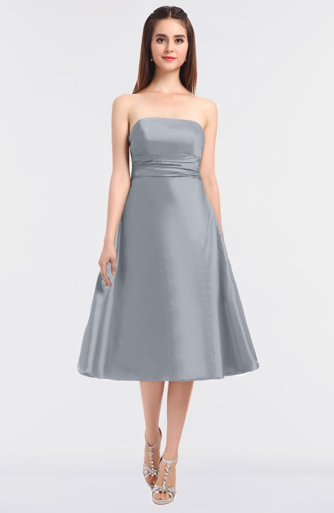 ColsBM Stacy Silver Elegant Ball Gown Bateau Sleeveless Zip up Ruching Bridesmaid Dresses