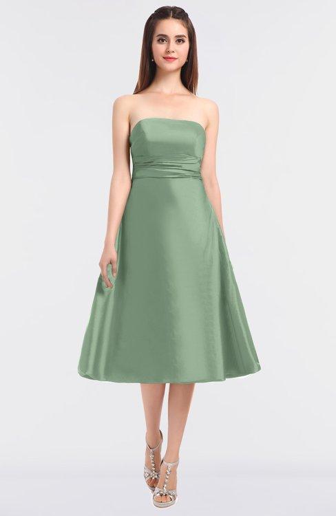 ColsBM Stacy Smoke Green Elegant Ball Gown Bateau Sleeveless Zip up Ruching Bridesmaid Dresses