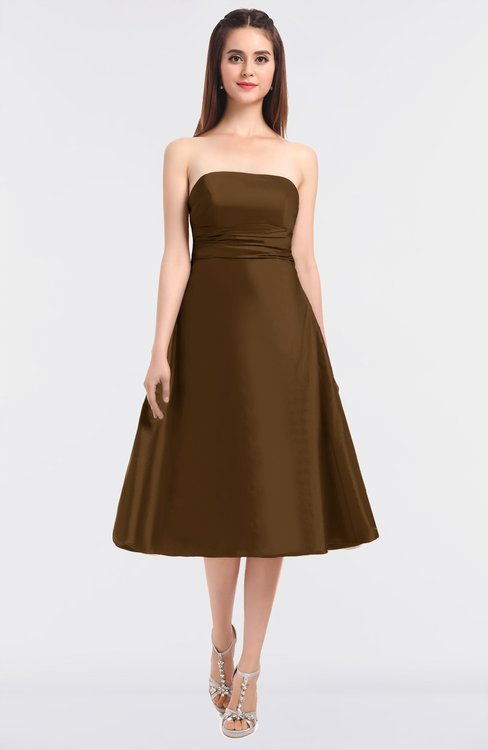 ColsBM Stacy Toffee Elegant Ball Gown Bateau Sleeveless Zip up Ruching Bridesmaid Dresses