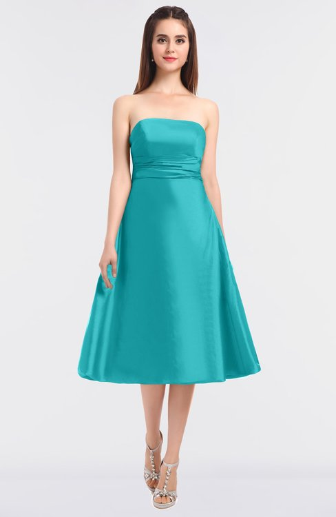 ColsBM Stacy Turquoise Elegant Ball Gown Bateau Sleeveless Zip up Ruching Bridesmaid Dresses