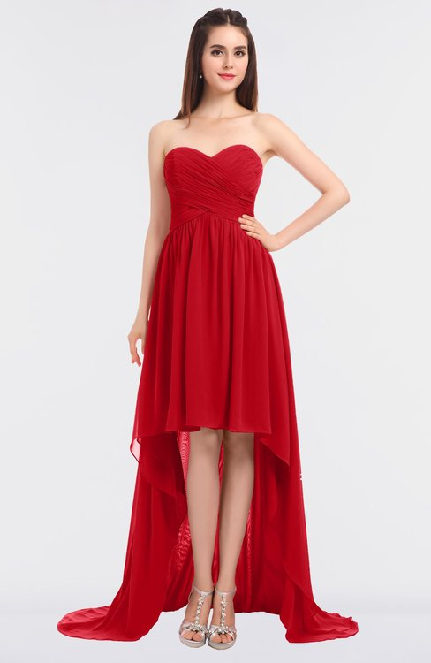 ColsBM Skye Red Sexy A-line Strapless Zip up Sweep Train Ruching Bridesmaid Dresses