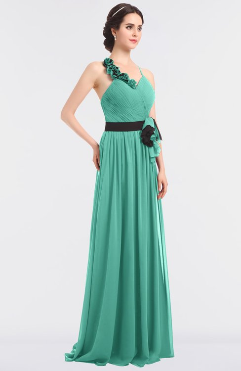ColsBM Ivanna Mint Green Elegant A-line Halter Sleeveless Floor Length Flower Bridesmaid Dresses