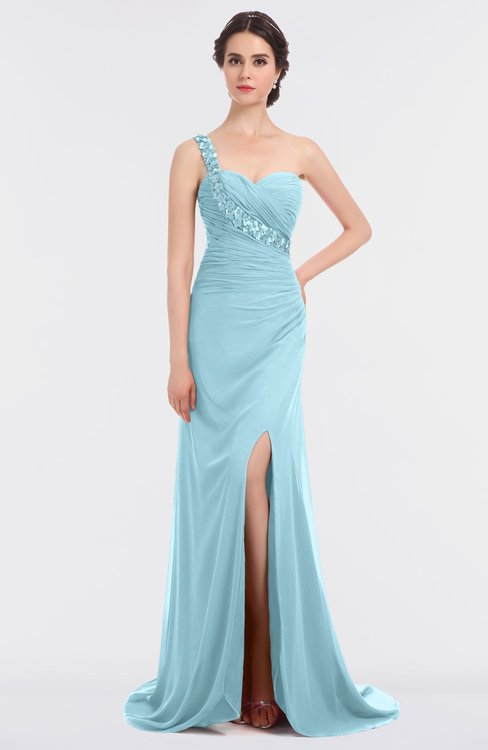ColsBM Selah Aqua Sexy Sheath Asymmetric Neckline Sleeveless Sweep Train Beaded Bridesmaid Dresses