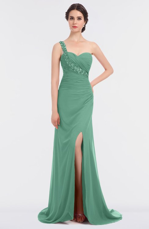 ColsBM Selah Beryl Green Sexy Sheath Asymmetric Neckline Sleeveless Sweep Train Beaded Bridesmaid Dresses