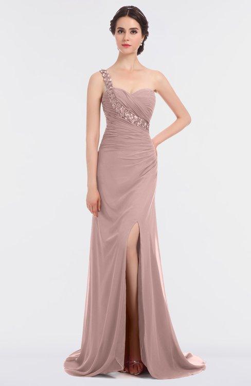 ColsBM Selah Blush Pink Sexy Sheath Asymmetric Neckline Sleeveless Sweep Train Beaded Bridesmaid Dresses