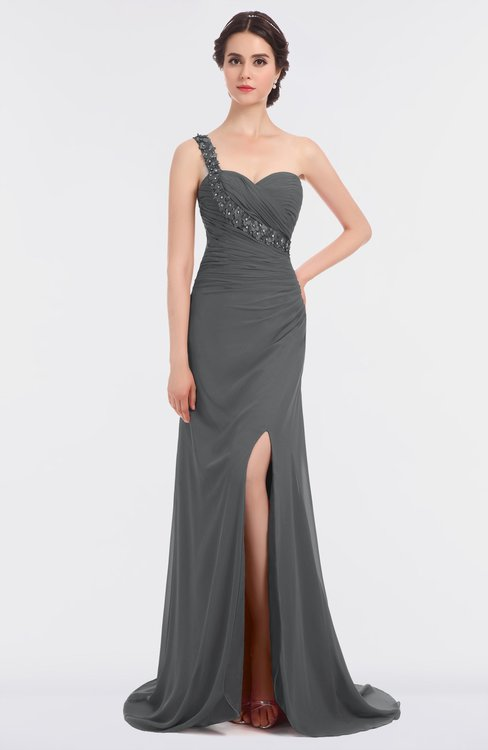 ColsBM Selah Grey Sexy Sheath Asymmetric Neckline Sleeveless Sweep Train Beaded Bridesmaid Dresses