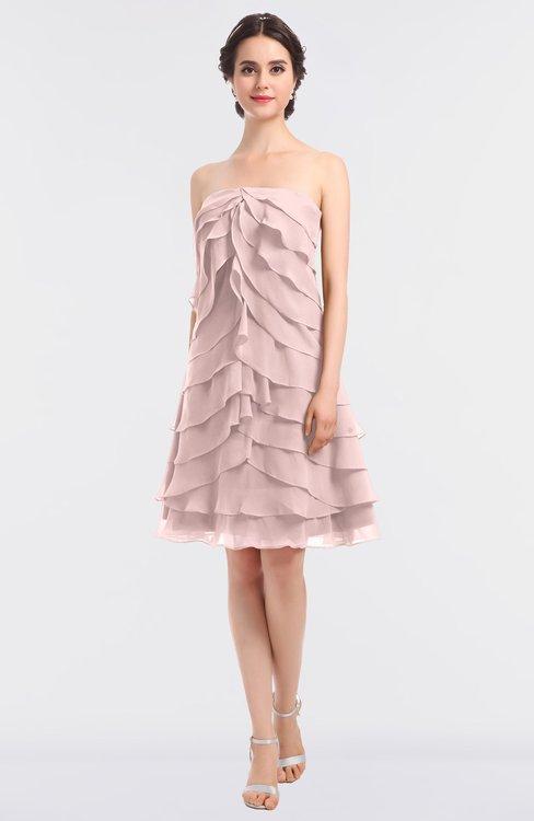 ColsBM Cheyenne Pastel Pink Modern A-line Strapless Sleeveless Knee Length Edging Bridesmaid Dresses