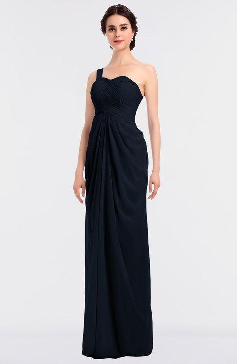 ColsBM Sandra Navy Blue Gorgeous A-line Zip up Floor Length Ruching Bridesmaid Dresses