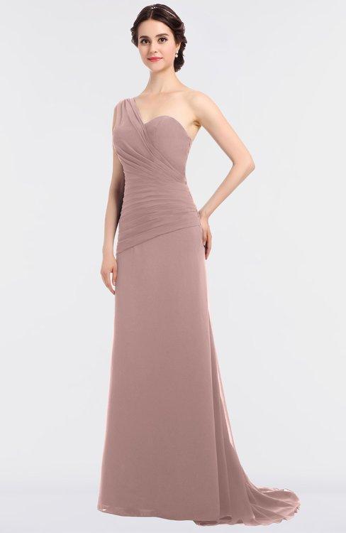 ColsBM Ruby Blush Pink Elegant A-line Asymmetric Neckline Sleeveless Zip up Sweep Train Bridesmaid Dresses