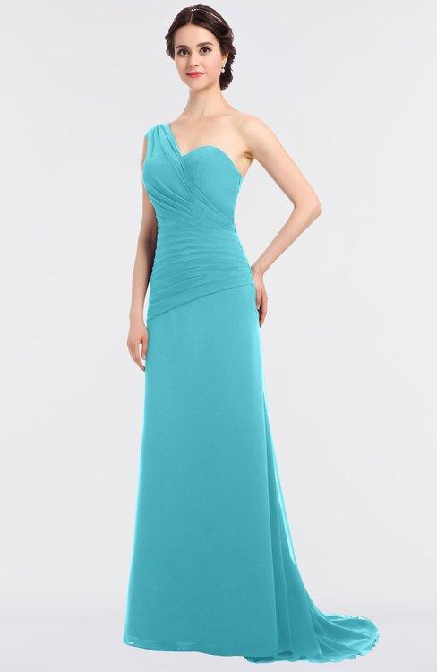 ColsBM Ruby Turquoise Elegant A-line Asymmetric Neckline Sleeveless Zip up Sweep Train Bridesmaid Dresses