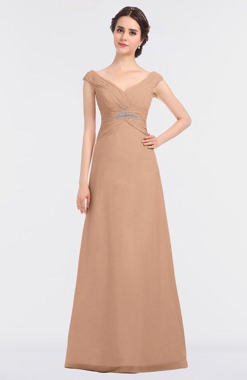 ColsBM Nadia Almost Apricot Elegant A-line Short Sleeve Zip up Floor Length Beaded Bridesmaid Dresses