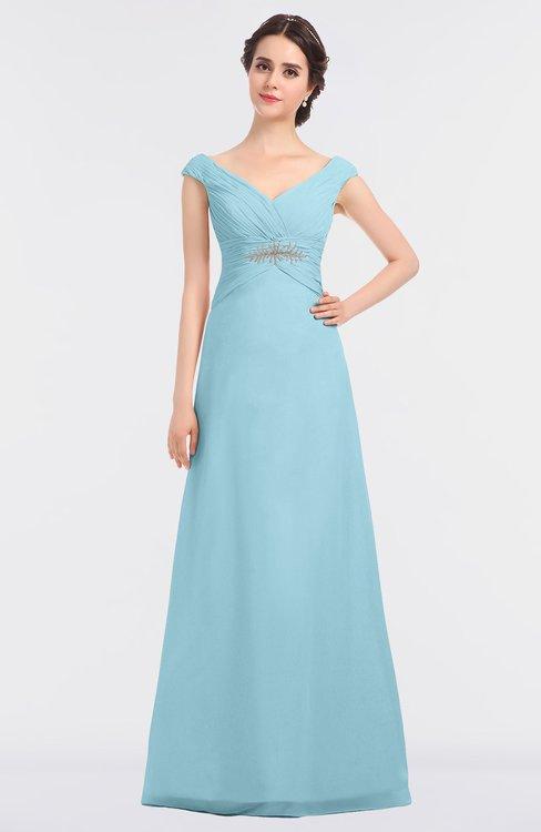 ColsBM Nadia Aqua Elegant A-line Short Sleeve Zip up Floor Length Beaded Bridesmaid Dresses