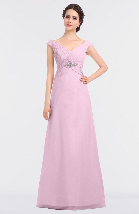ColsBM Nadia Baby Pink Elegant A-line Short Sleeve Zip up Floor Length Beaded Bridesmaid Dresses