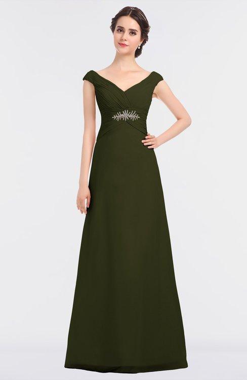 ColsBM Nadia Beech Elegant A-line Short Sleeve Zip up Floor Length Beaded Bridesmaid Dresses