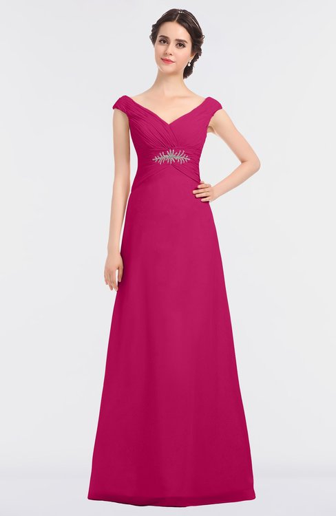 ColsBM Nadia Beetroot Purple Elegant A-line Short Sleeve Zip up Floor Length Beaded Bridesmaid Dresses