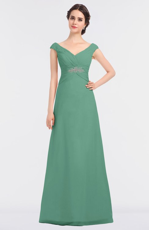 ColsBM Nadia Beryl Green Elegant A-line Short Sleeve Zip up Floor Length Beaded Bridesmaid Dresses
