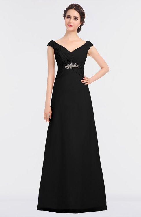 ColsBM Nadia Black Elegant A-line Short Sleeve Zip up Floor Length Beaded Bridesmaid Dresses