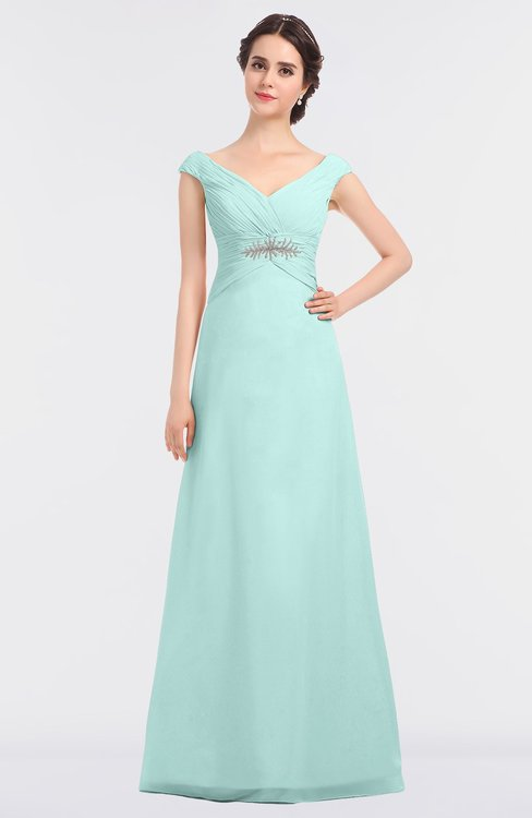 ColsBM Nadia Blue Glass Elegant A-line Short Sleeve Zip up Floor Length Beaded Bridesmaid Dresses