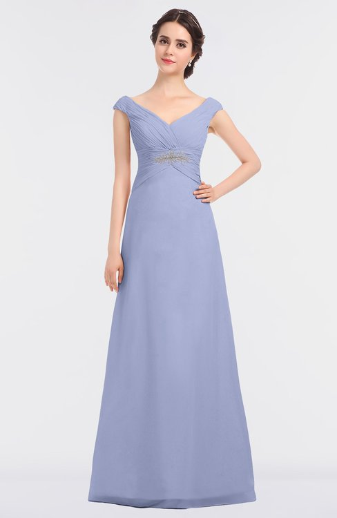ColsBM Nadia Blue Heron Elegant A-line Short Sleeve Zip up Floor Length Beaded Bridesmaid Dresses
