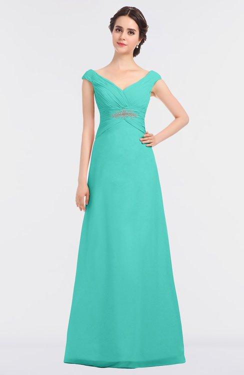 ColsBM Nadia Blue Turquoise Elegant A-line Short Sleeve Zip up Floor Length Beaded Bridesmaid Dresses