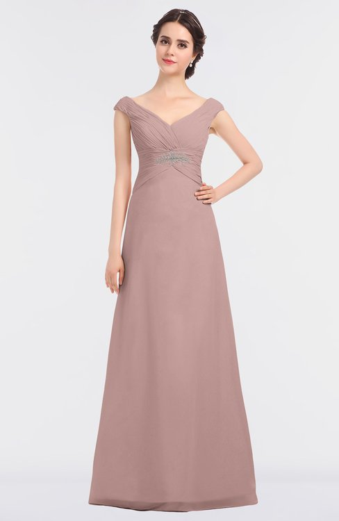ColsBM Nadia Blush Pink Elegant A-line Short Sleeve Zip up Floor Length Beaded Bridesmaid Dresses