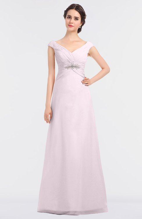 ColsBM Nadia Blush Elegant A-line Short Sleeve Zip up Floor Length Beaded Bridesmaid Dresses