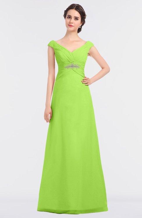 ColsBM Nadia Bright Green Elegant A-line Short Sleeve Zip up Floor Length Beaded Bridesmaid Dresses