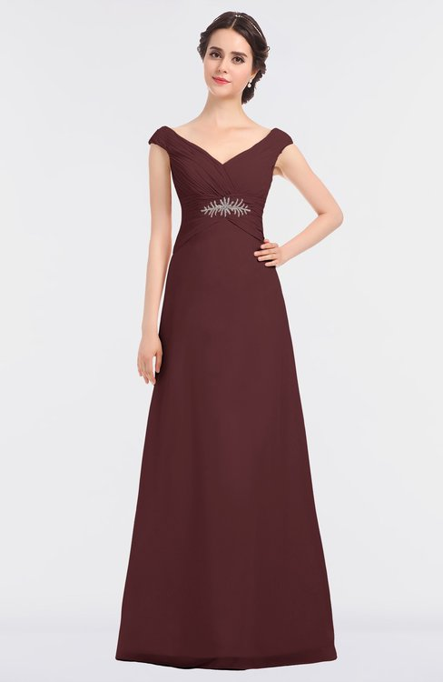 ColsBM Nadia Burgundy Elegant A-line Short Sleeve Zip up Floor Length Beaded Bridesmaid Dresses