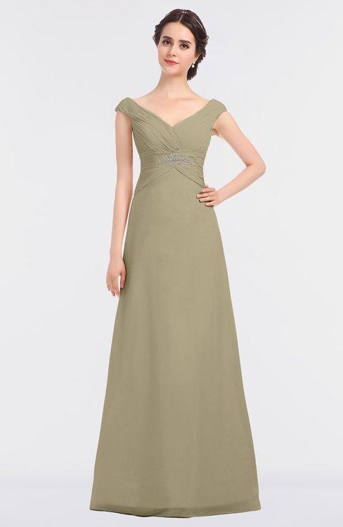 ColsBM Nadia Candied Ginger Elegant A-line Short Sleeve Zip up Floor Length Beaded Bridesmaid Dresses