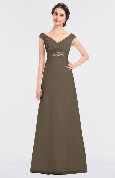 ColsBM Nadia Carafe Brown Elegant A-line Short Sleeve Zip up Floor Length Beaded Bridesmaid Dresses