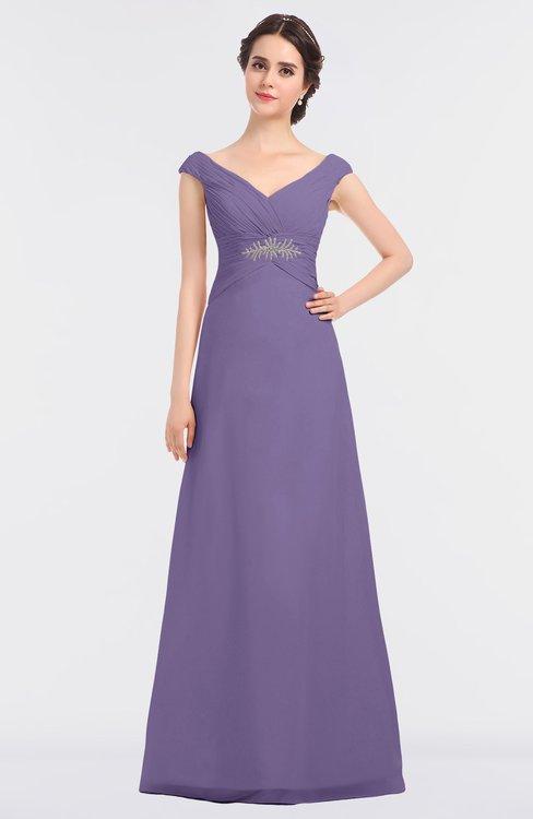 ColsBM Nadia Chalk Violet Elegant A-line Short Sleeve Zip up Floor Length Beaded Bridesmaid Dresses