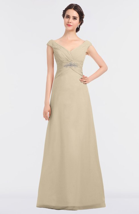 ColsBM Nadia Champagne Elegant A-line Short Sleeve Zip up Floor Length Beaded Bridesmaid Dresses