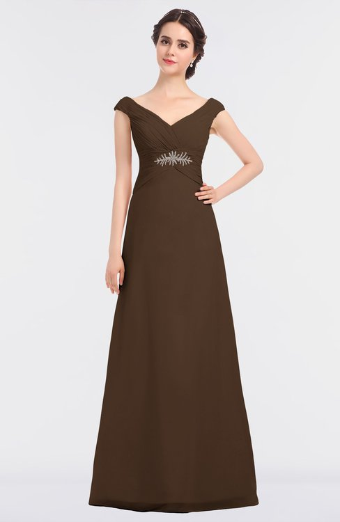 ColsBM Nadia Chocolate Brown Elegant A-line Short Sleeve Zip up Floor Length Beaded Bridesmaid Dresses