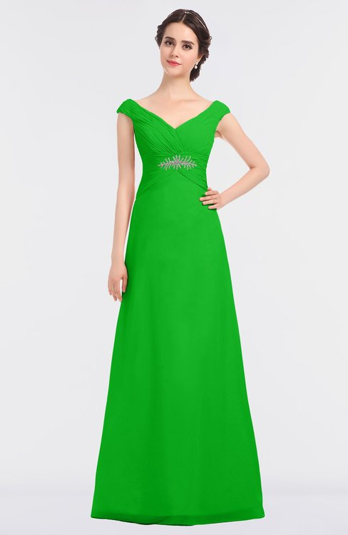 ColsBM Nadia Classic Green Elegant A-line Short Sleeve Zip up Floor Length Beaded Bridesmaid Dresses