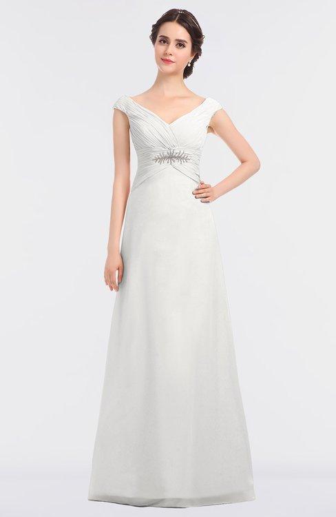 ColsBM Nadia Cloud White Elegant A-line Short Sleeve Zip up Floor Length Beaded Bridesmaid Dresses
