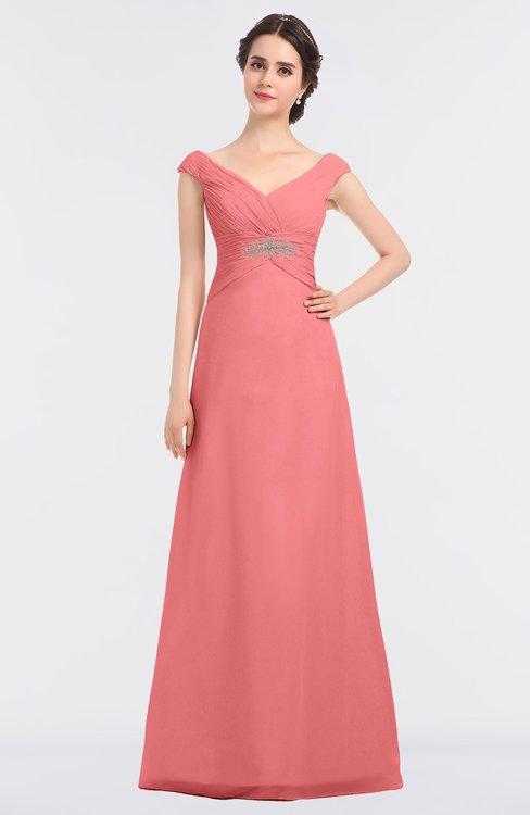 ColsBM Nadia Coral Elegant A-line Short Sleeve Zip up Floor Length Beaded Bridesmaid Dresses