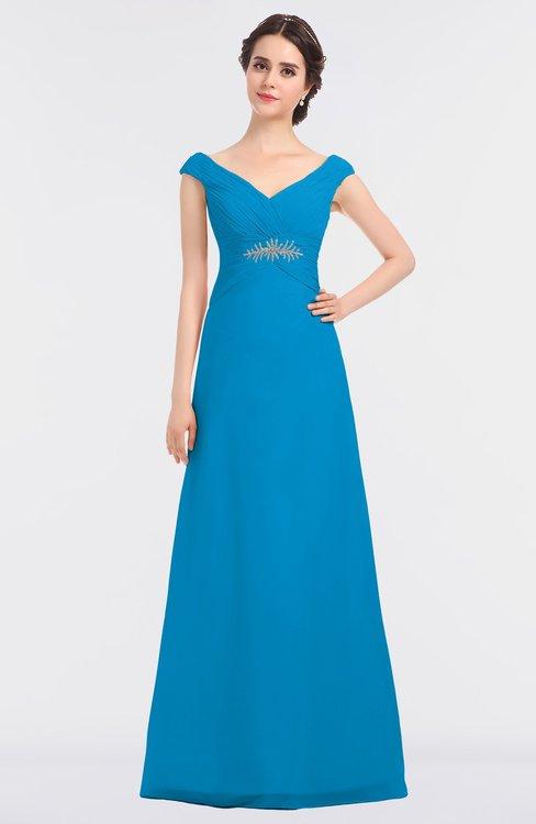 ColsBM Nadia Cornflower Blue Elegant A-line Short Sleeve Zip up Floor Length Beaded Bridesmaid Dresses